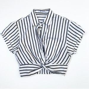 T Alexander Wang Stripe Twist Front Cropped Top 2